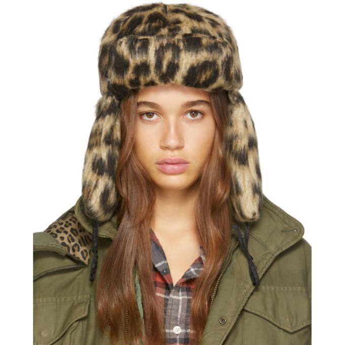 R13 Chapeau a motif leopard beige et noir Trapper
