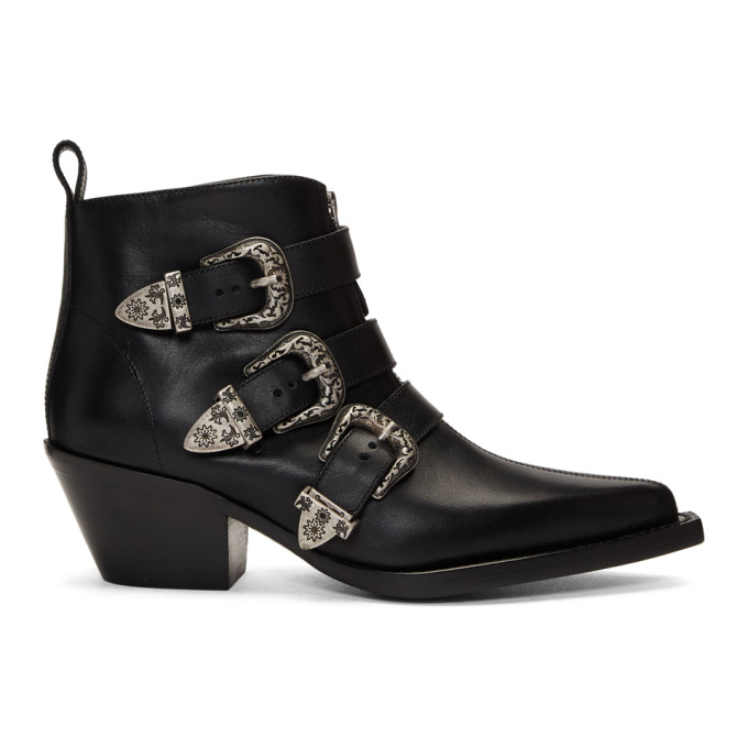 R13 Black Three-Buckle Ankle Boots