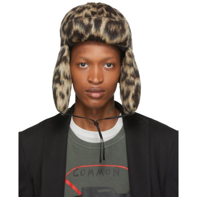 R13 Chapeau en laine a motif leopard brun clair Trapper