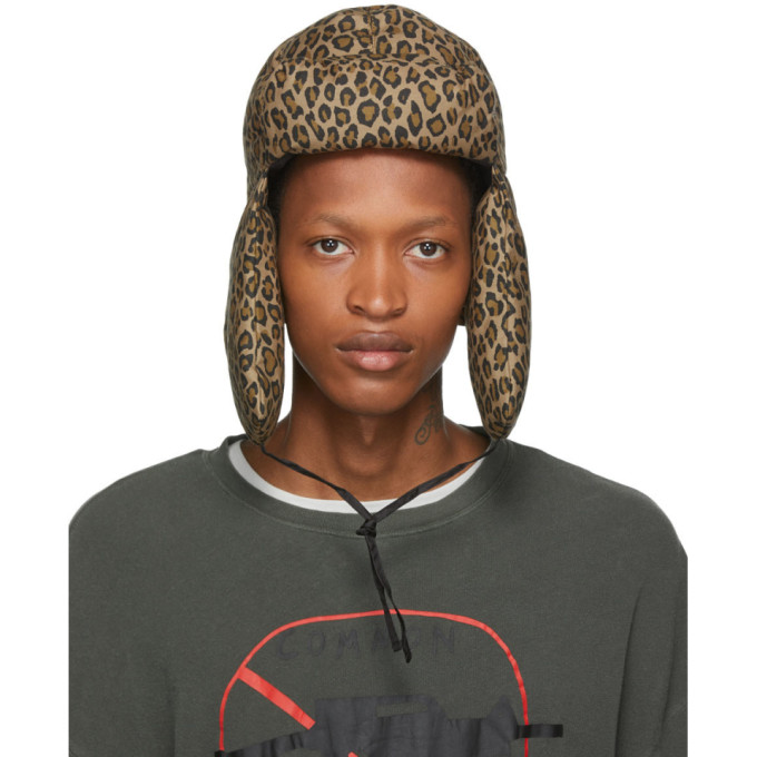 R13 Chapeau en toile a motif leopard brun clair Trapper