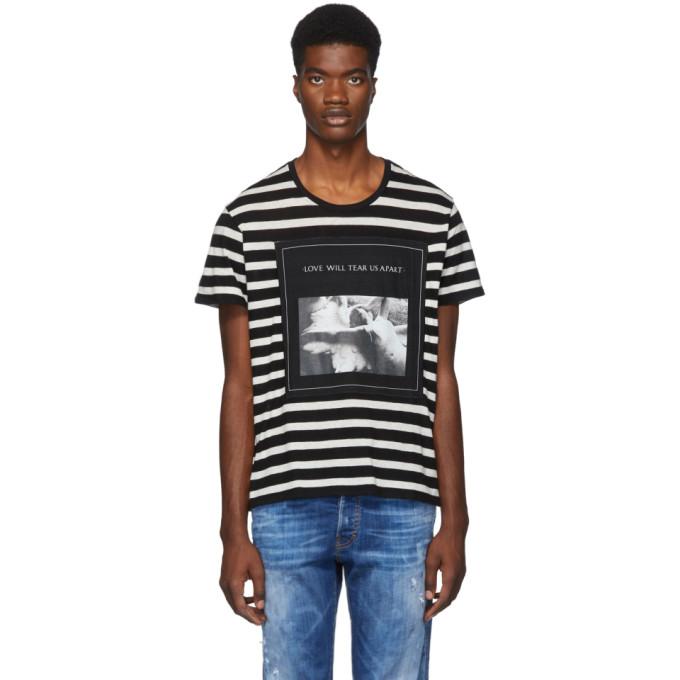 R13 Black and White Striped Joy Division Boy T-Shirt
