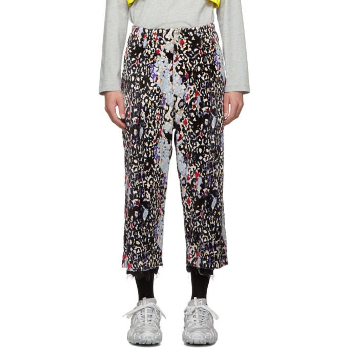Sulvam Pantalon noir et multicolore Leopard