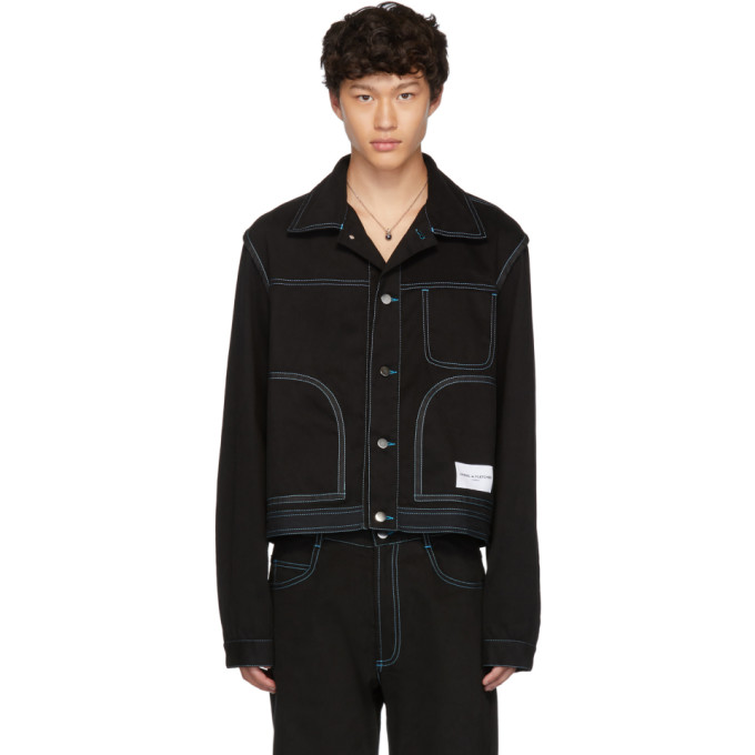 Daniel W. Fletcher Blouson en denim a coutures contrastantes noir