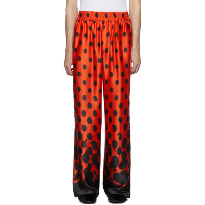 Palomo Spain Pantalon en soie rouge et noir Mercury Dot