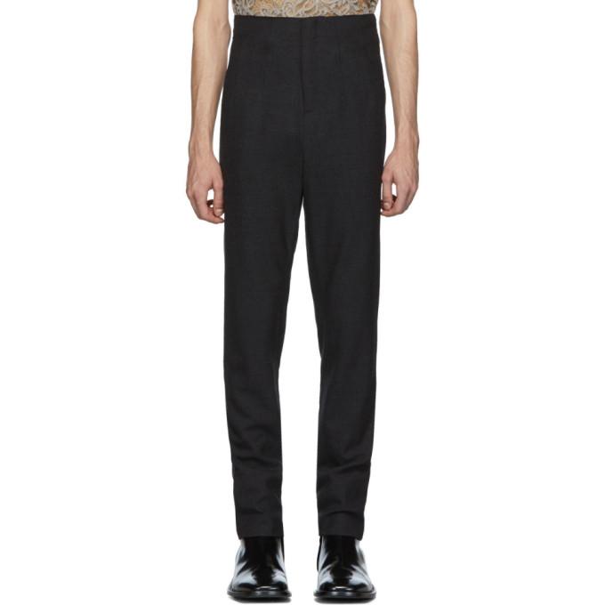 Palomo Spain Pantalon a taille haute en laine gris