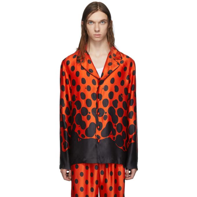 Palomo Spain Chemise en soie noire et rouge Mercury Dot Pyjama