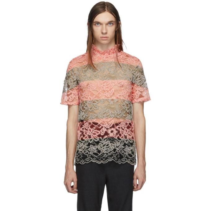 Palomo Spain T-shirt en dentelle vert et rose exclusif a SSENSE