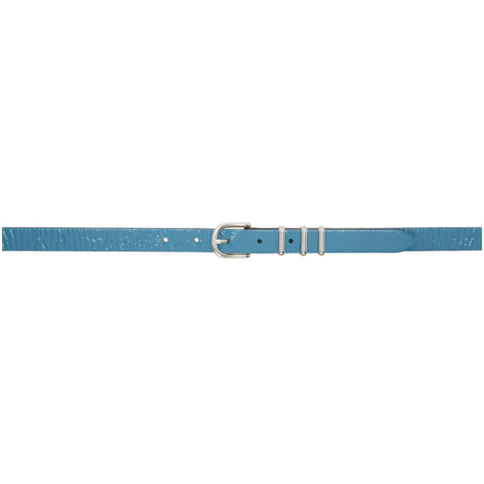 rag and bone Ceinture en cuir verni bleue Jet