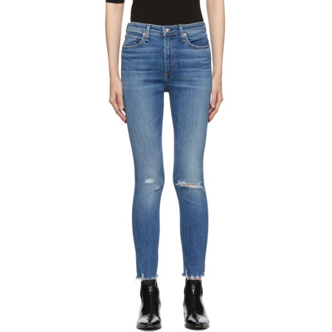 56c8dec07 Rag & Bone Blue Nina High-Rise Ankle Skinny Jeans In 420 Vernon ...