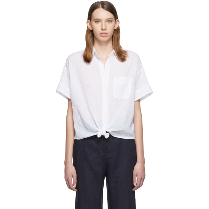 rag and bone Chemise a manches courtes blanche Lenny Tie