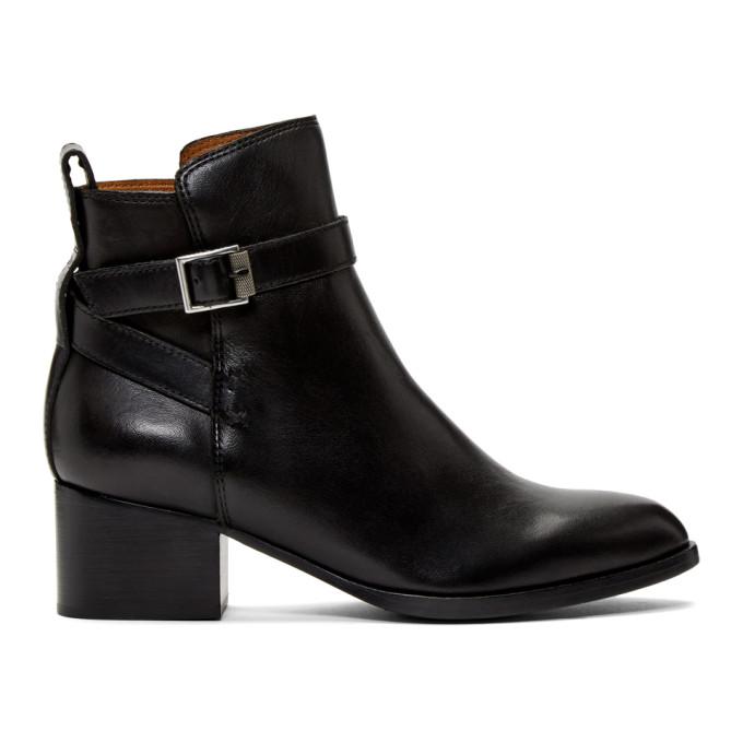rag and bone Black Walker Buckle Boots