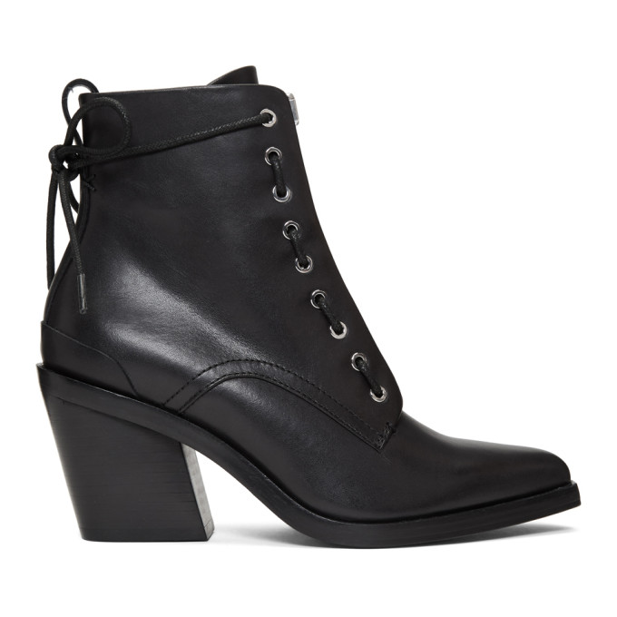 rag and bone Black Ryder Lace-Up Boots