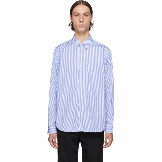 Comme des Garcons Homme Blue and White Cotton Stripe Shirt
