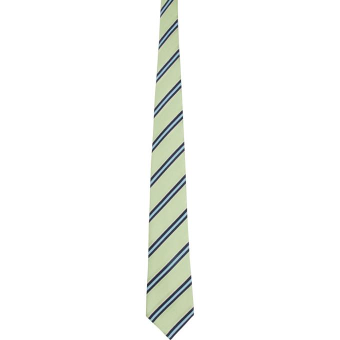 Comme Des Garcons Homme Deux Cravate en soie rayee verte