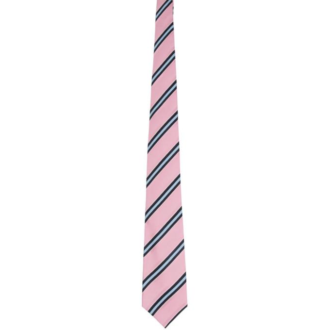 Comme Des Garcons Homme Deux Cravate en soie rayee rose