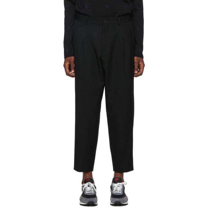 Comme des Garcons Homme Deux Black Wool Gabardine Trousers