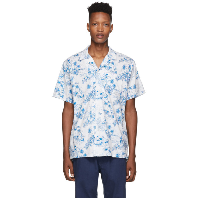 Bather White and Blue Toile Shirt