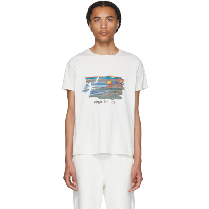 Remi Relief T-shirt blanc casse Mountains