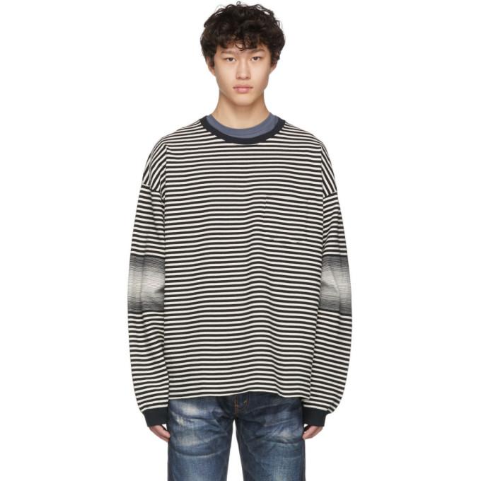 Remi Relief T-shirt a manches longues raye noir et blanc