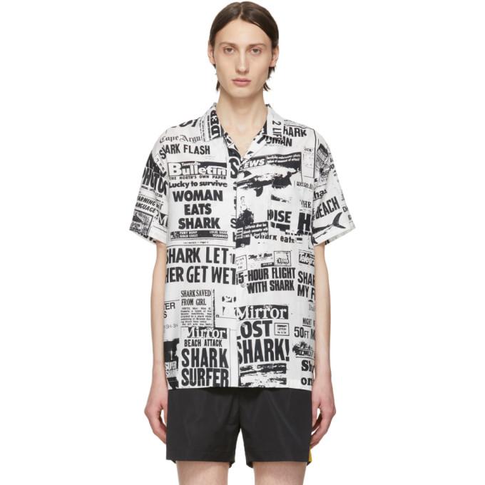Double Rainbouu Chemise hawaIenne blanc casse et noire Bad News