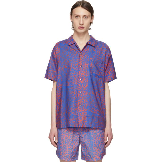 Double Rainbouu Chemise hawaienne bleue et rouge Discotheque