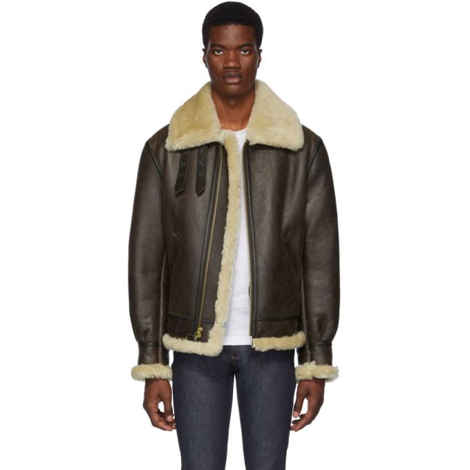 Schott Brown B-3 Shearling Jacket