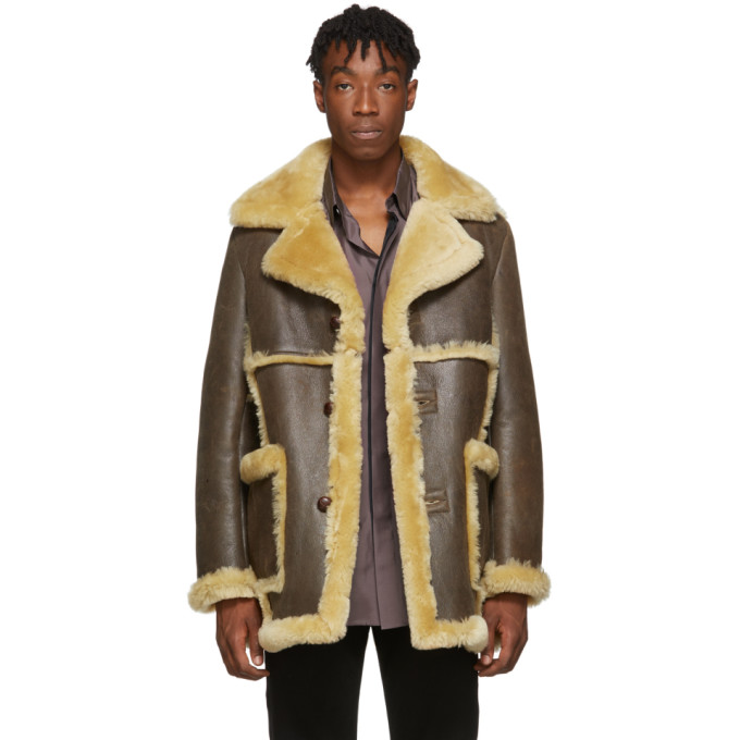 Schott SSENSE Exclusive Brown Shearling Jacket