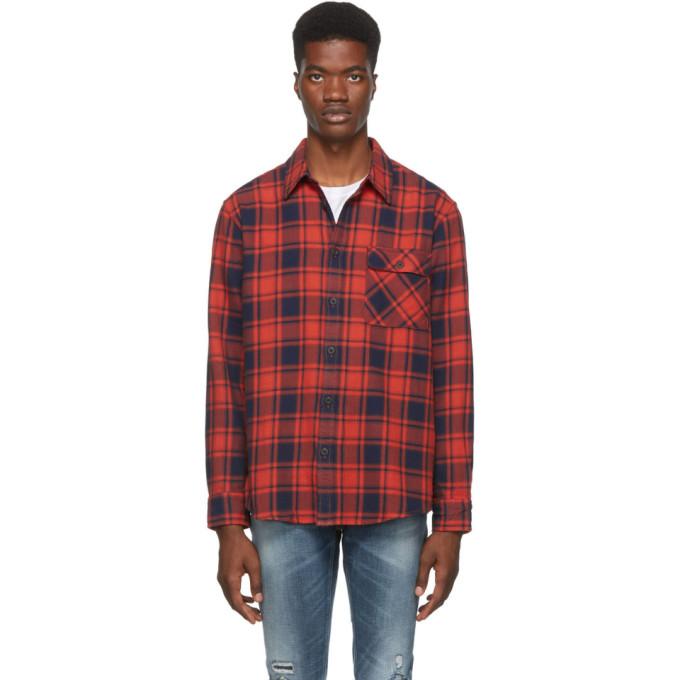 Nudie Jeans Chemise en flanelle a carreaux rouge et noire Sten