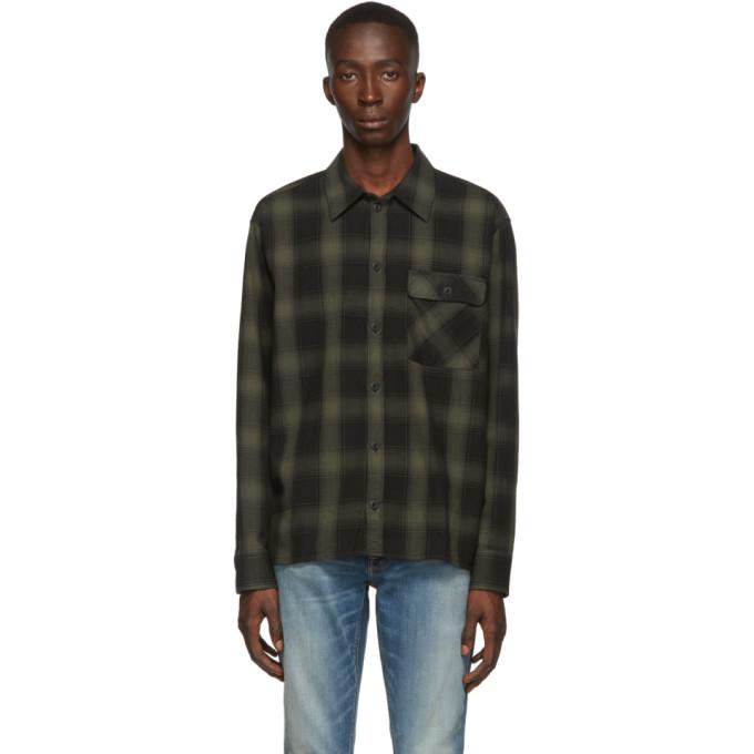Nudie Jeans Chemise noire et grise Shadow Check Sten