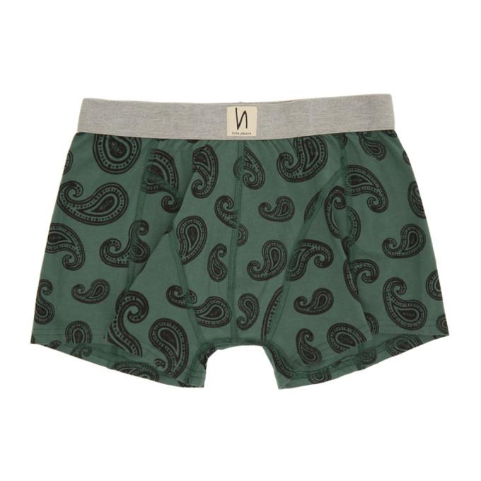 Nudie Jeans Boxer vert Paisley Kattegat