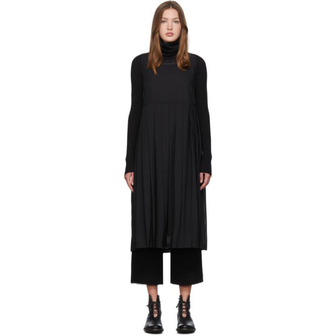 Renli Su Robe debardeur en laine noire