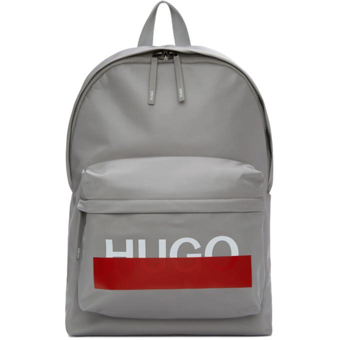 Hugo グレー ロゴ バックパック