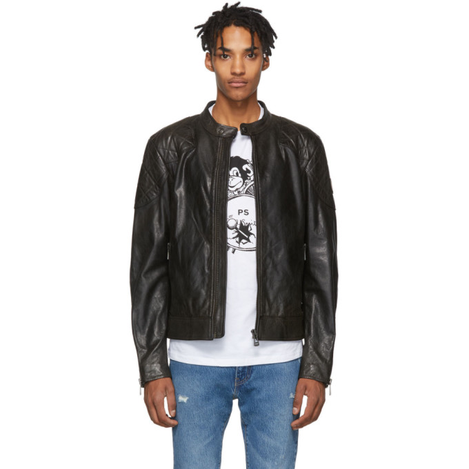 Image of Belstaff Black Leather Outlaw Jacket