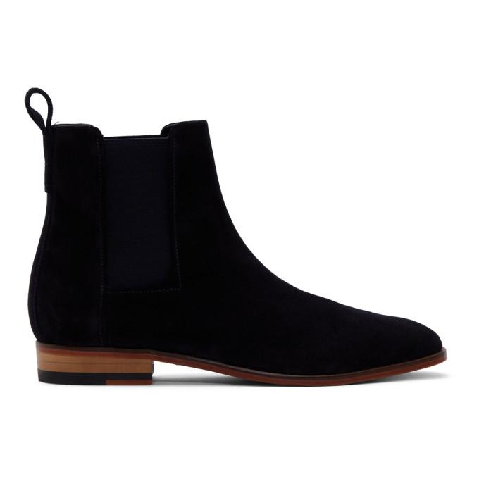 Hugo Navy Suede Cult Chelsea Boots