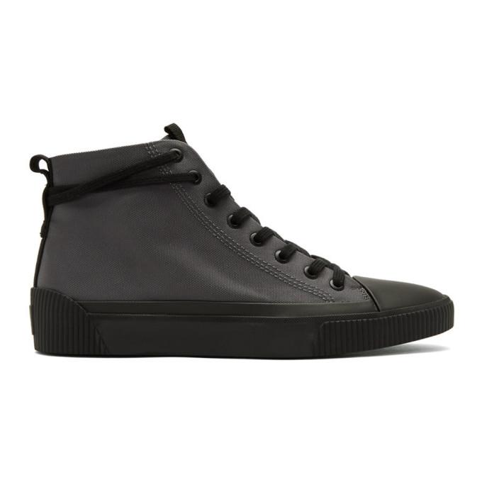 Hugo Grey Reverse Logo Patch High-Top Sneakers