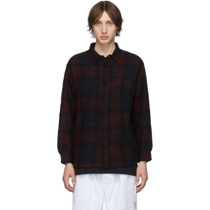 Billy Chemise en flanelle de laine a carreaux rouge