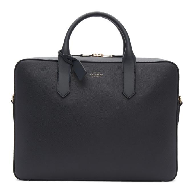 Smythson Navy Panama Slim Briefcase