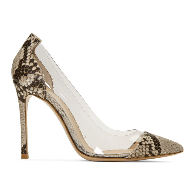Gianvito Rossi Black and White Python Plexi Heels
