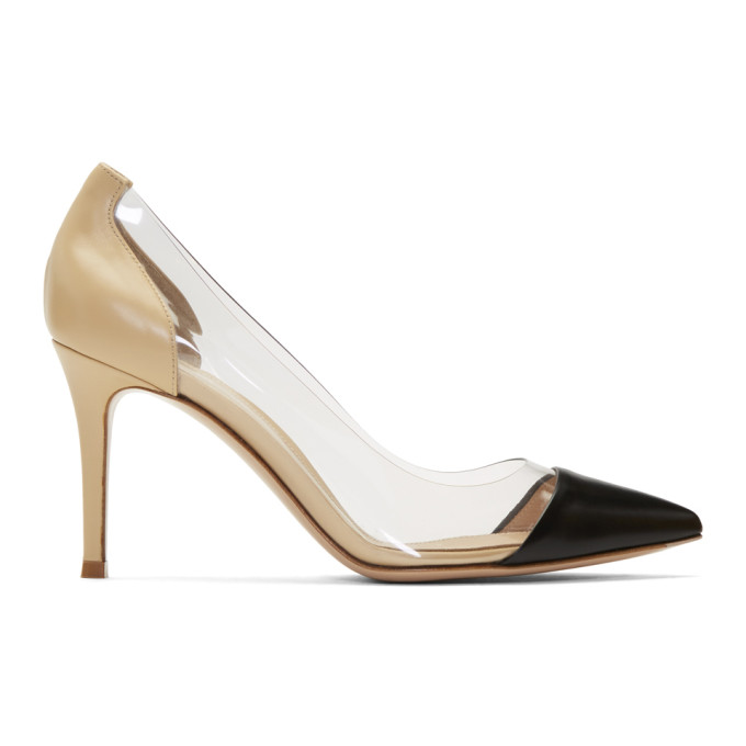 Gianvito Rossi Black and Pink Plexi 85 Heels