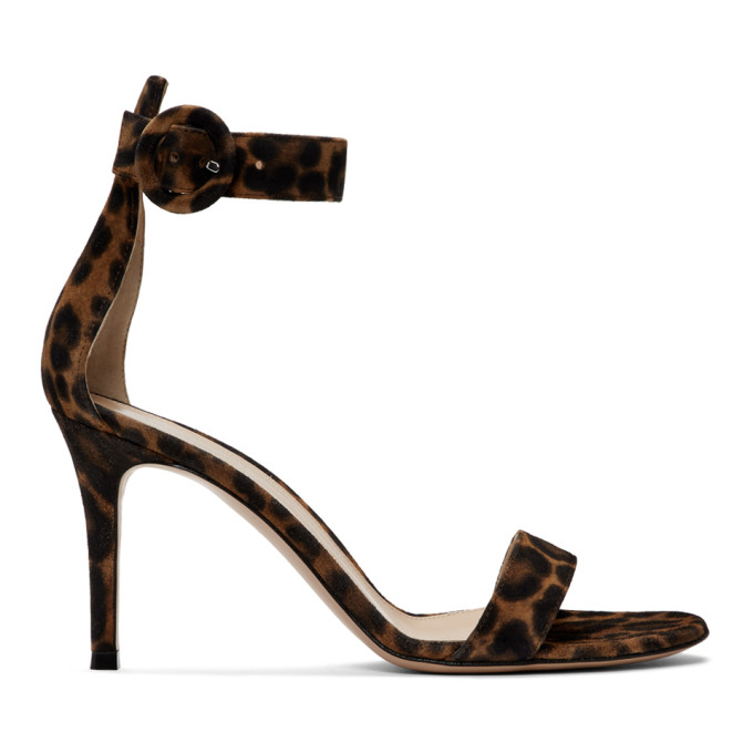 Gianvito Rossi Brown and Black Leopard Portofino Sandals