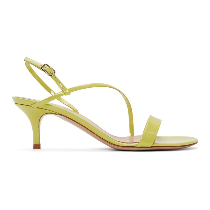 Gianvito Rossi Yellow Patent Manhattan Strappy Sandals