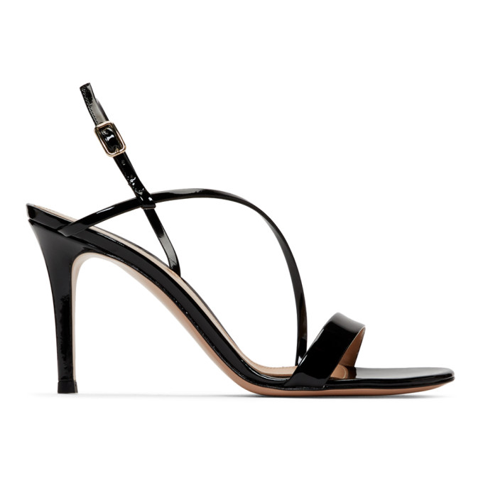 Gianvito Rossi Black Patent Manhattan Strappy Sandals