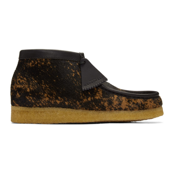 Clarks Originals Black and Brown Pony Hair Tortoiseshell Wallabee Boots