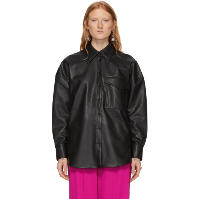 Tibi Chemisier en cuir synthetique noir Relaxed Utility