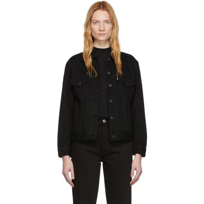 LEVI'S | Levis Black Denim Ex-Boyfriend Trucker Jacket | Goxip