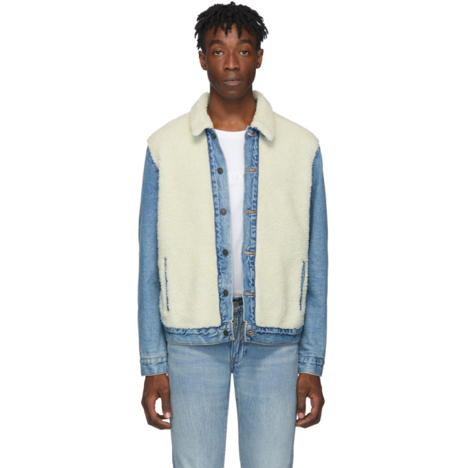 Levis Blue and Off-White Sherpa Panel Trucker Jacket
