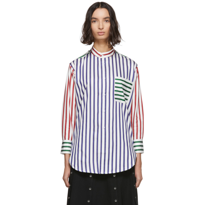 Charles Jeffrey Loverboy Chemise blanche Striped Colorblock