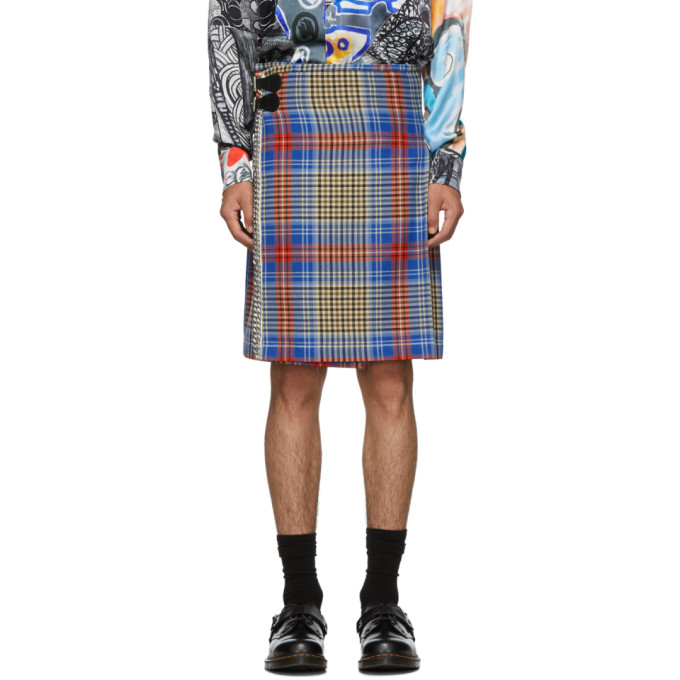 Charles Jeffrey Loverboy Kilt bleu Tartan Shepherds