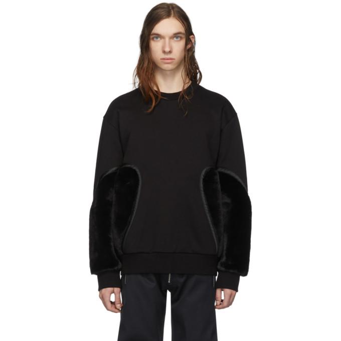 Feng Chen Wang Black Faux-Fur Panelled Sweatshirt
