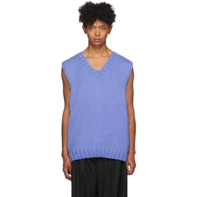 Camiel Fortgens Veste tricotee a la main bleue 70s